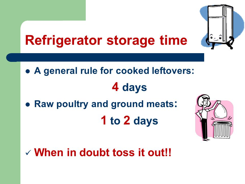 Refrigerator storage time A general rule for cooked leftovers: 4 days Raw poultry and ground meats : 1 to 2 days When in doubt toss it out!!