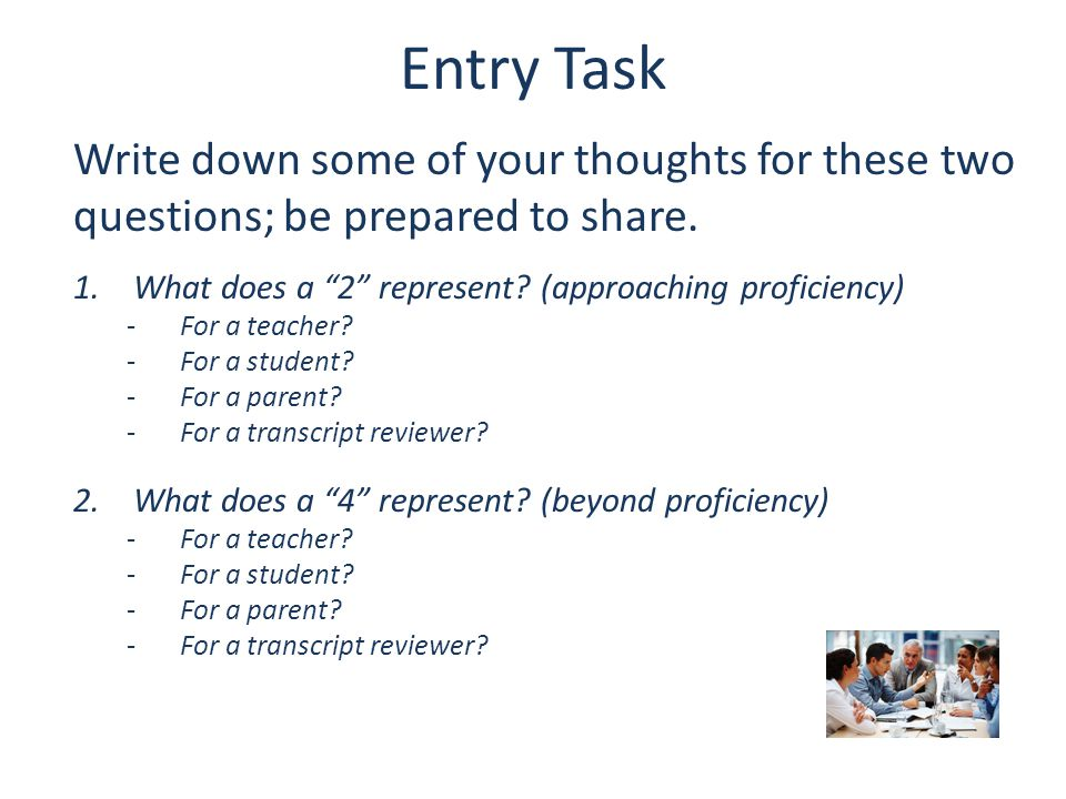 Advanced Cognitive task extending from standard; requiring decision-making, expressing reasoning, or applying what has been explicitly taught in new contexts Proficient Standard as defined by the state including expectations for content, process, skills, and/or performance to be explicitly taught.