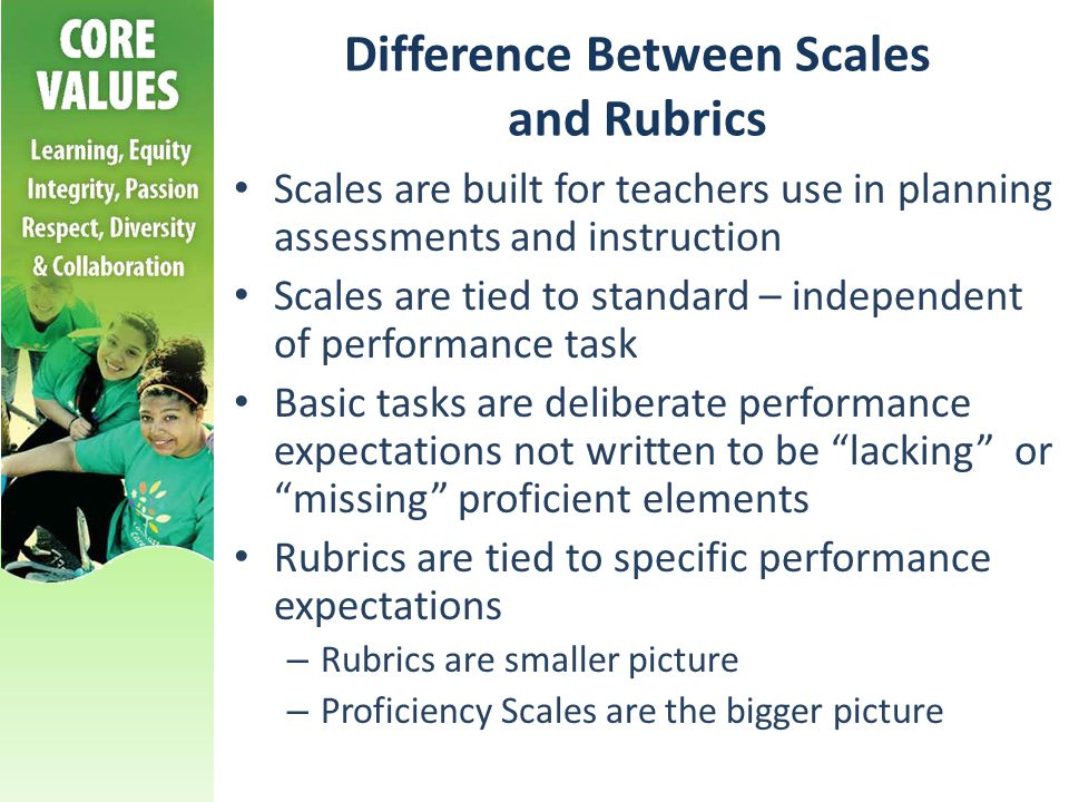 Difference Between Scales and Rubrics Scales are built for teachers use in planning assessments and instruction Scales are tied to standard – independ