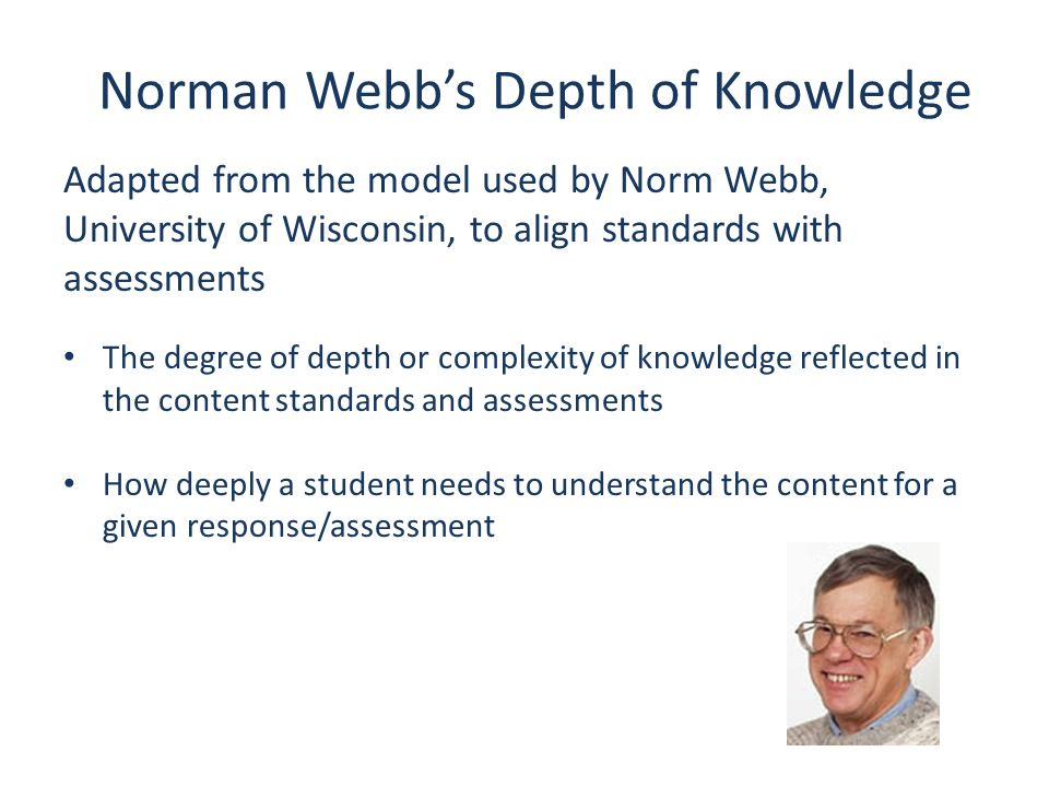 Norman Webb's Depth of Knowledge Adapted from the model used by Norm Webb, University of Wisconsin, to align standards with assessments The degree of