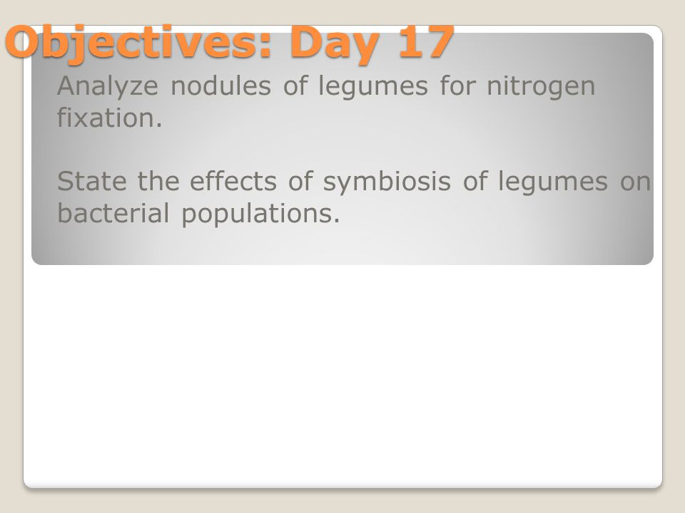 Objectives: Day 17 Analyze nodules of legumes for nitrogen fixation.