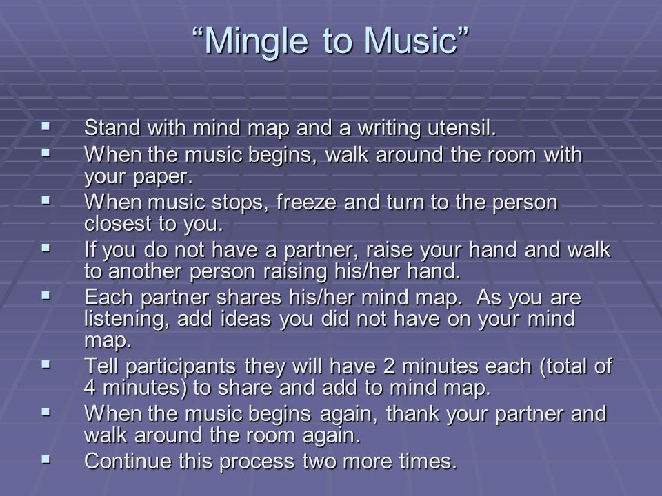 Mingle to Music  Stand with mind map and a writing utensil.
