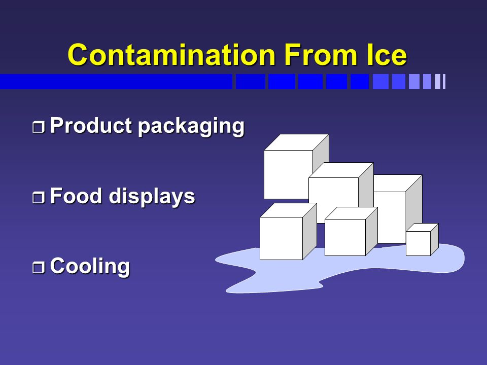 Contamination From Ice r Product packaging r Food displays r Cooling
