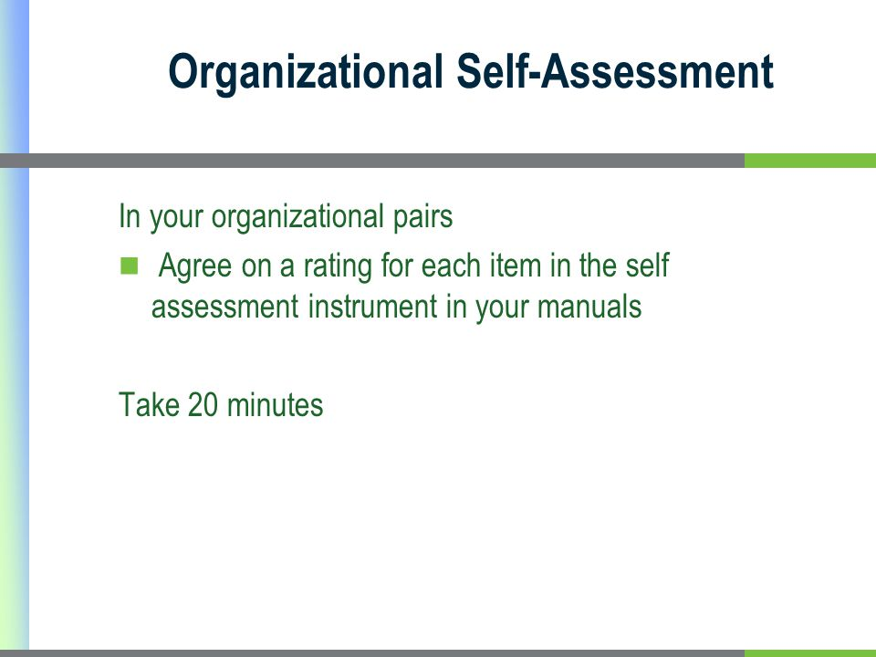 Organizational Self-Assessment In your organizational pairs Agree on a rating for each item in the self assessment instrument in your manuals Take 20 minutes