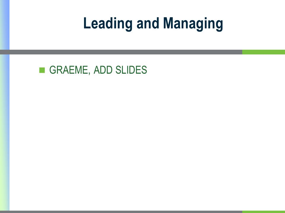 Leading and Managing GRAEME, ADD SLIDES