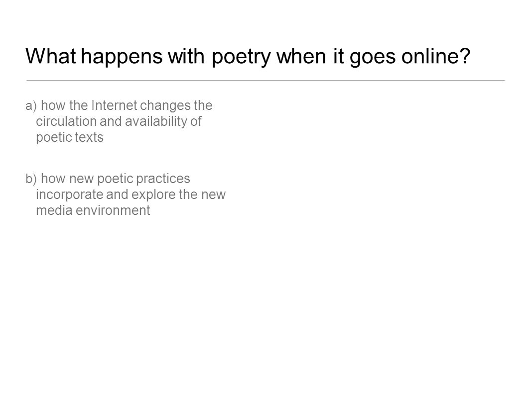 Circulation/availability Is the internet poetry friendly? www.poetry.com
