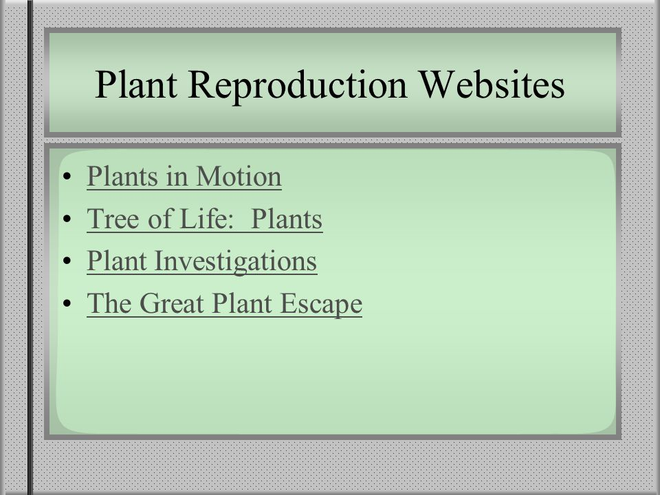 Plant Reproduction Websites Plants in Motion Tree of Life: Plants Plant Investigations The Great Plant Escape