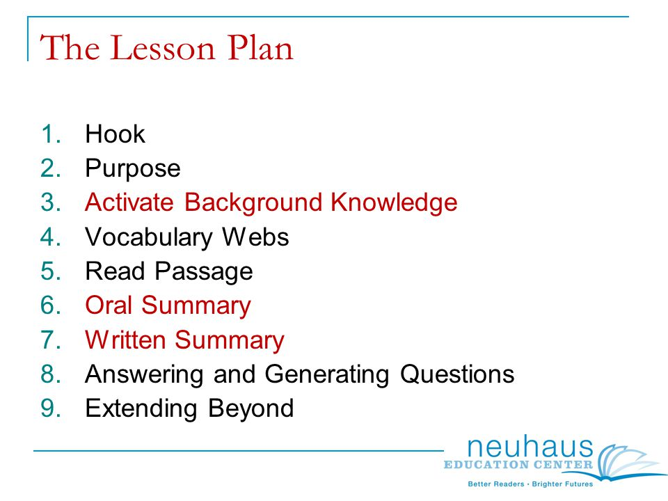 The Lesson Plan 1.Hook 2.Purpose 3.Activate Background Knowledge 4.Vocabulary Webs 5.Read Passage 6.Oral Summary 7.Written Summary 8.Answering and Generating Questions 9.Extending Beyond