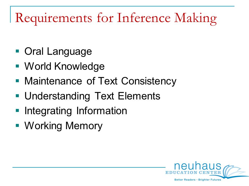 Requirements for Inference Making  Oral Language  World Knowledge  Maintenance of Text Consistency  Understanding Text Elements  Integrating Information  Working Memory