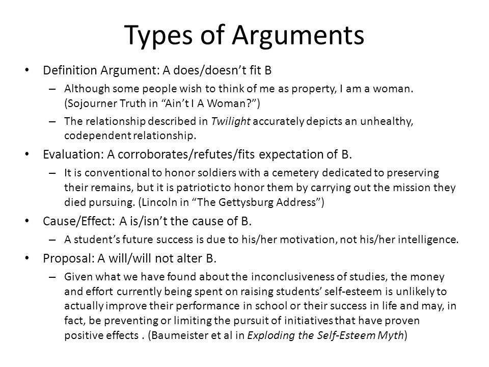 Types of Arguments Definition Argument: A does/doesn't fit B – Although some people wish to think of me as property, I am a woman. (Sojourner Truth in