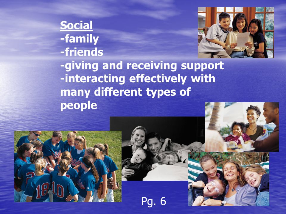 Social -family -friends -giving and receiving support -interacting effectively with many different types of people Pg.