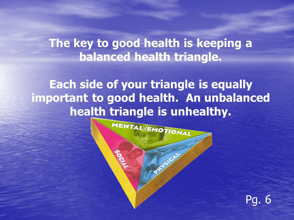 The key to good health is keeping a balanced health triangle.