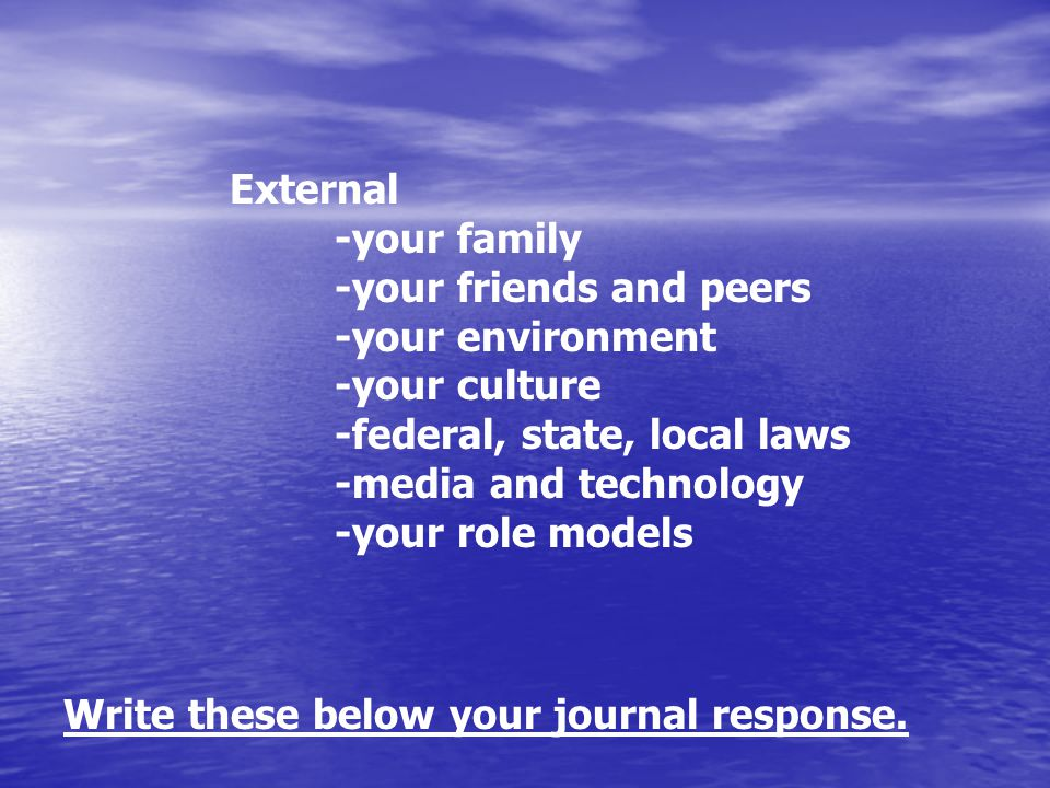 External -your family -your friends and peers -your environment -your culture -federal, state, local laws -media and technology -your role models Write these below your journal response.