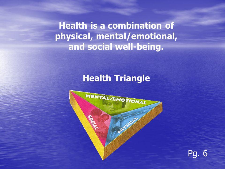 Physical -exercise -nutrition -hygiene -avoiding disease -getting enough sleep -medical/dental check-ups Pg.