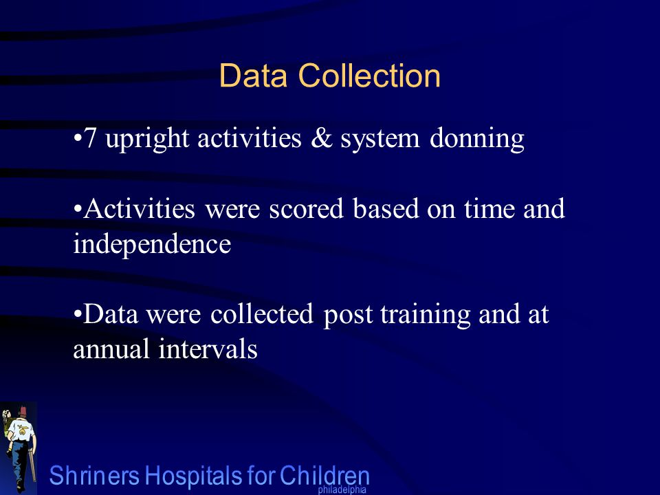 7 upright activities & system donning Activities were scored based on time and independence Data were collected post training and at annual intervals