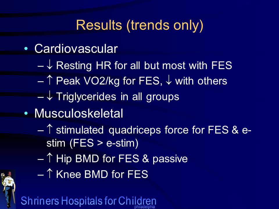 Results (trends only) Cardiovascular –  Resting HR for all but most with FES –  Peak VO2/kg for FES,  with others –  Triglycerides in all groups M