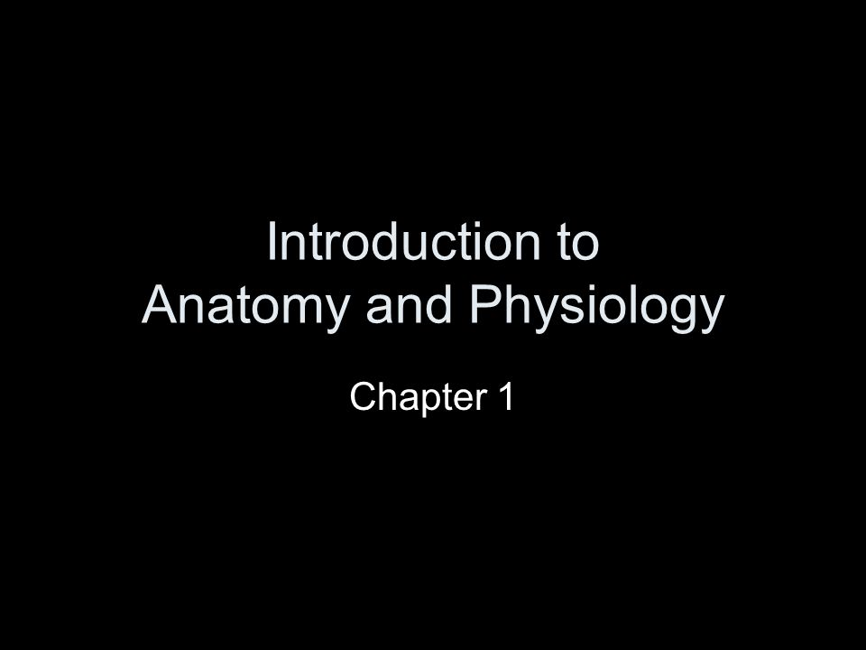 Introduction to Anatomy and Physiology Chapter 1