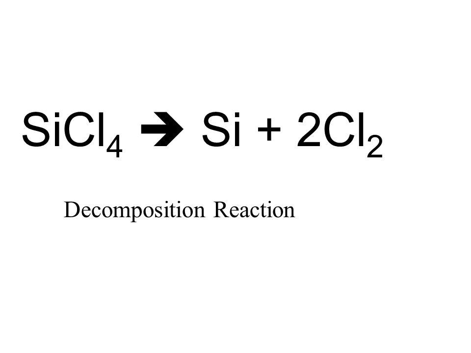SiCl 4  Si + 2Cl 2 Decomposition Reaction
