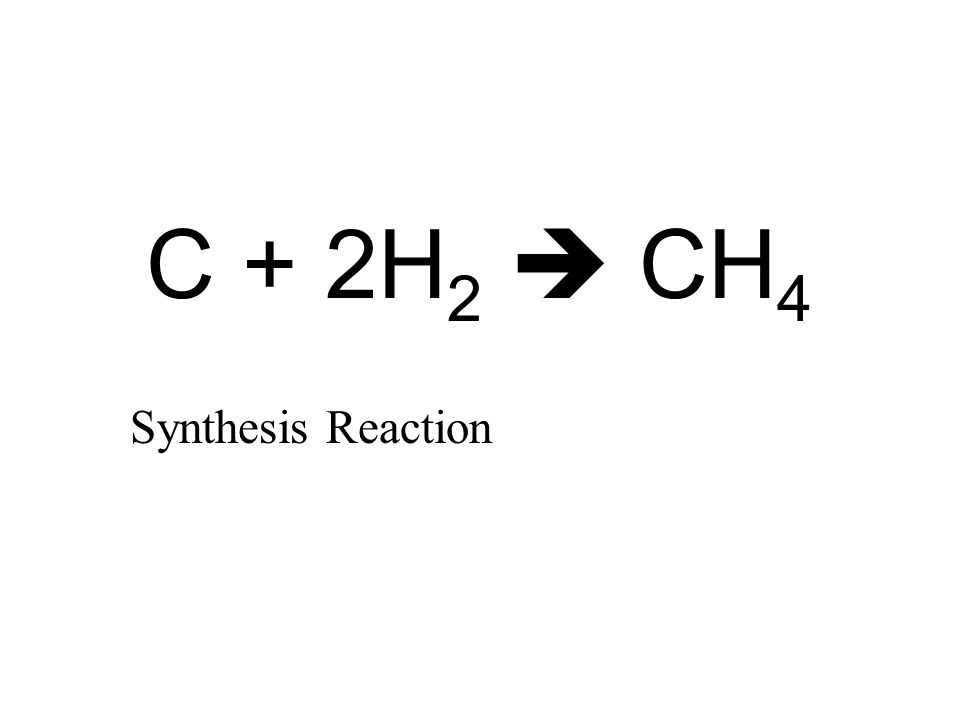 C + 2H 2  CH 4 Synthesis Reaction