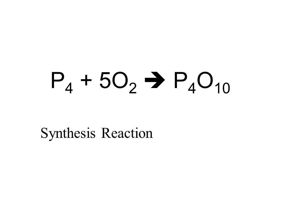 P 4 + 5O 2  P 4 O 10 Synthesis Reaction
