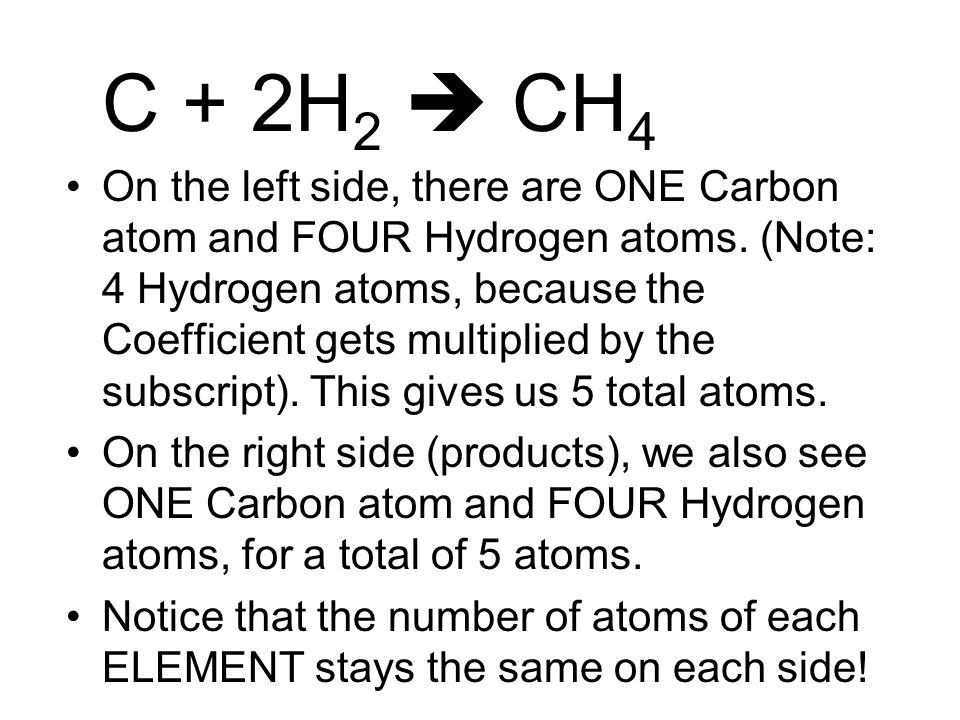 C + 2H 2  CH 4 On the left side, there are ONE Carbon atom and FOUR Hydrogen atoms.