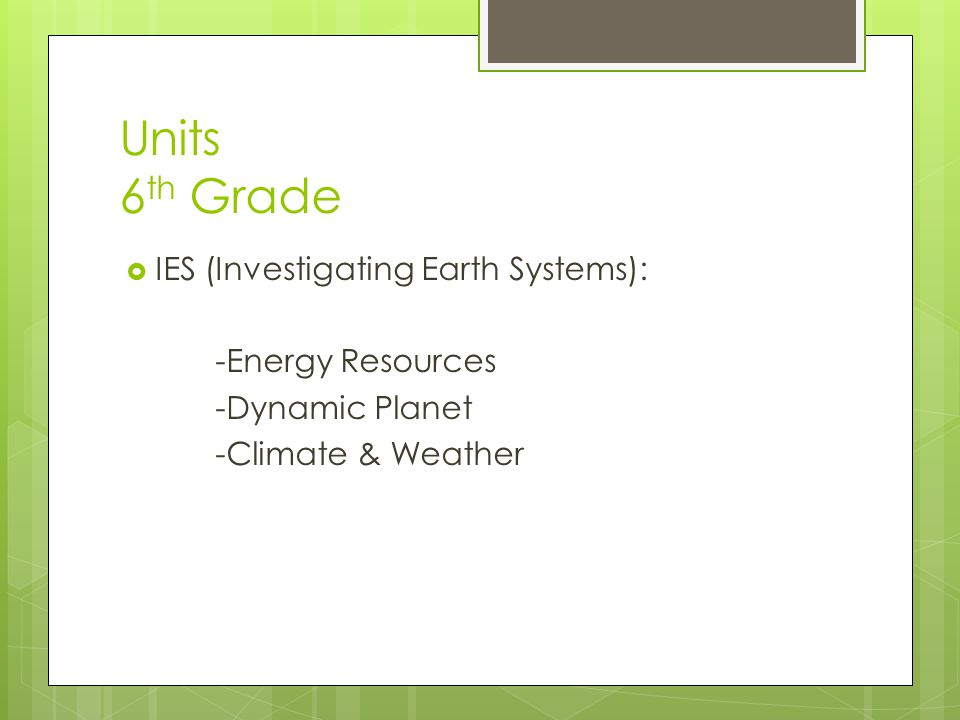 Units 6 th Grade  IES (Investigating Earth Systems): -Energy Resources -Dynamic Planet -Climate & Weather