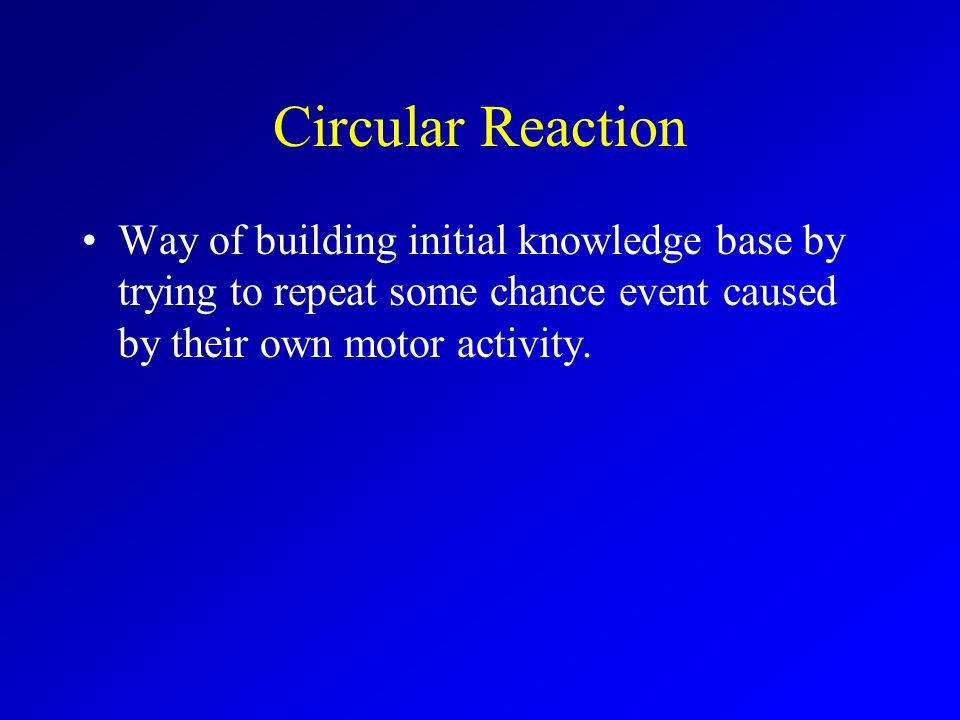 Circular Reaction Way of building initial knowledge base by trying to repeat some chance event caused by their own motor activity.