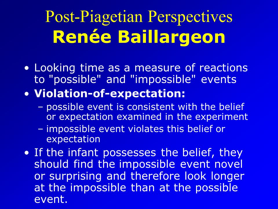 Post-Piagetian Perspectives Renée Baillargeon Looking time as a measure of reactions to possible and impossible events Violation-of-expectation: –possible event is consistent with the belief or expectation examined in the experiment –impossible event violates this belief or expectation If the infant possesses the belief, they should find the impossible event novel or surprising and therefore look longer at the impossible than at the possible event.