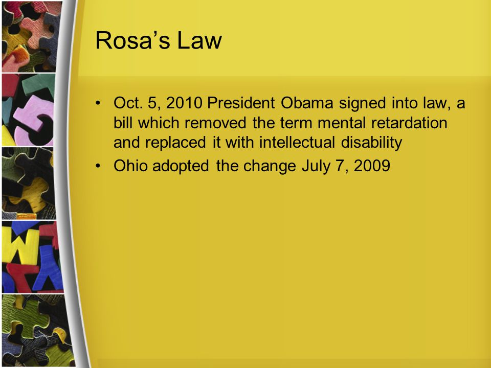 Rosa's Law Oct.
