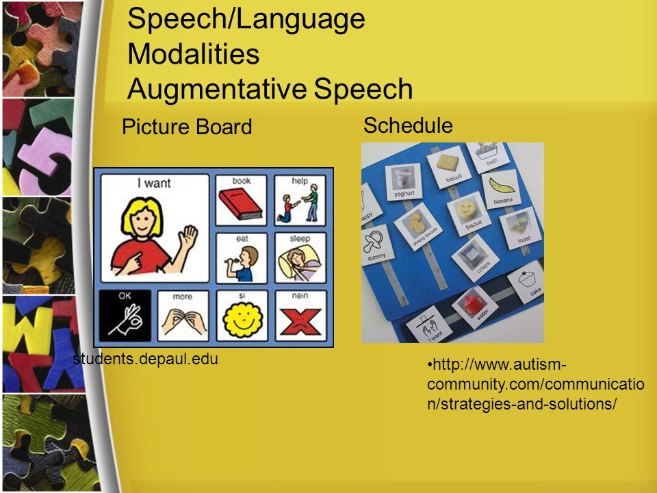 Speech/Language Modalities Augmentative Speech Schedule students.depaul.edu Picture Board http://www.autism- community.com/communicatio n/strategies-and-solutions/