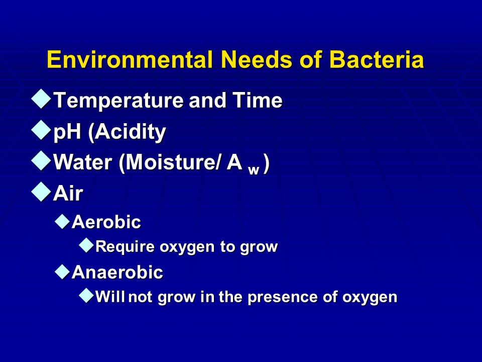 Environmental Needs of Bacteria u Temperature and Time u pH (Acidity u Water (Moisture/ A w ) u Air uAerobic u Require oxygen to grow uAnaerobic u Wil