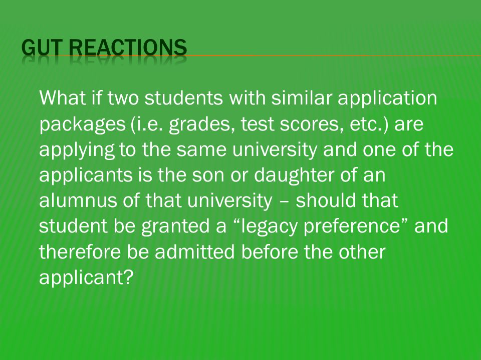 What if two students with similar application packages (i.e.