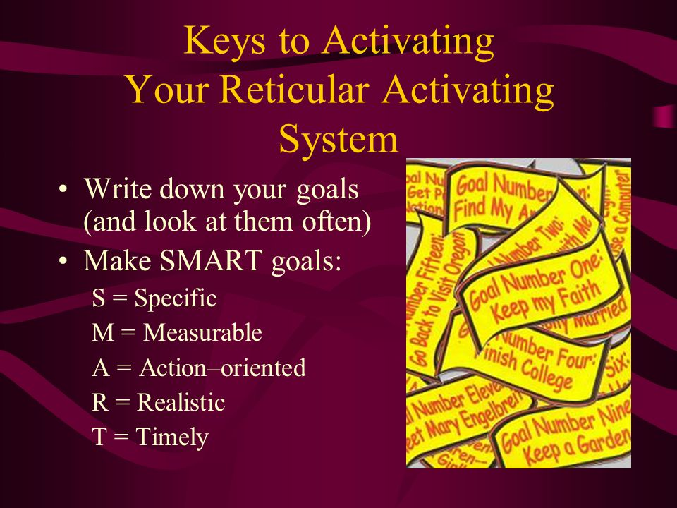 Keys to Activating Your Reticular Activating System Write down your goals (and look at them often) Make SMART goals: S = Specific M = Measurable A = A