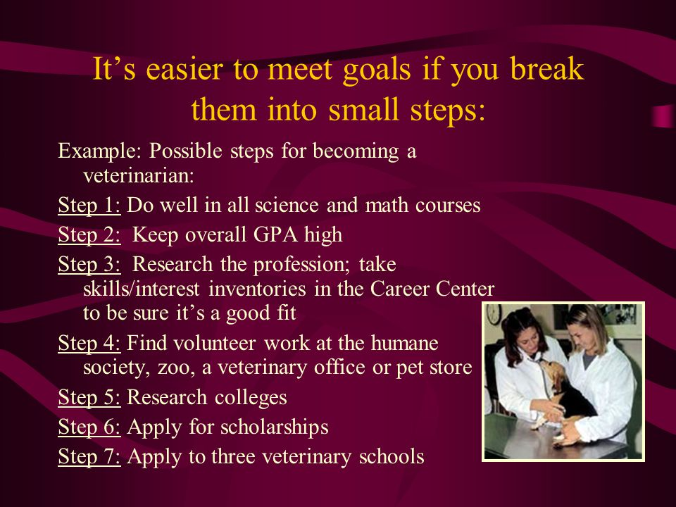 It's easier to meet goals if you break them into small steps: Example: Possible steps for becoming a veterinarian: Step 1: Do well in all science and