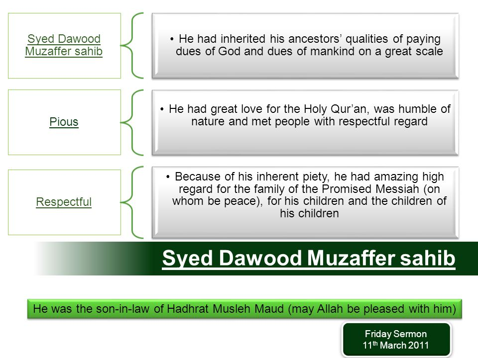 Syed Dawood Muzaffer sahib He had inherited his ancestors' qualities of paying dues of God and dues of mankind on a great scale Pious He had great love for the Holy Qur'an, was humble of nature and met people with respectful regard Respectful Because of his inherent piety, he had amazing high regard for the family of the Promised Messiah (on whom be peace), for his children and the children of his children He was the son-in-law of Hadhrat Musleh Maud (may Allah be pleased with him) Friday Sermon 11 th March 2011 Friday Sermon 11 th March 2011