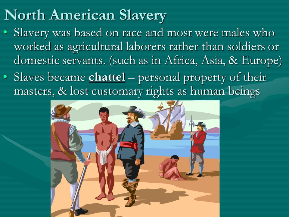 North American Slavery Slavery was based on race and most were males who worked as agricultural laborers rather than soldiers or domestic servants.