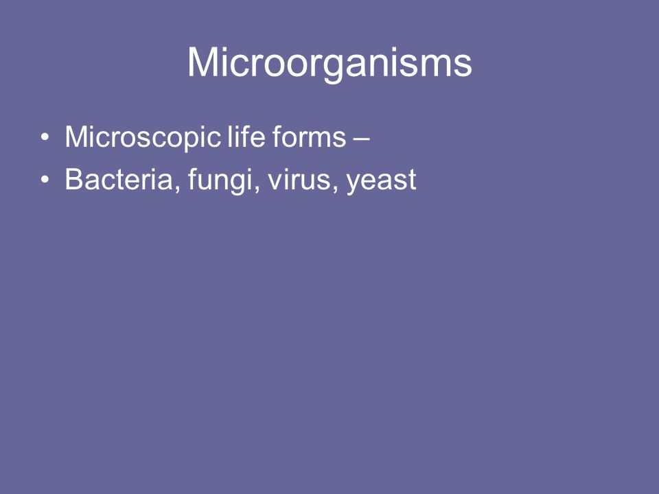 Microorganisms Microscopic life forms – Bacteria, fungi, virus, yeast