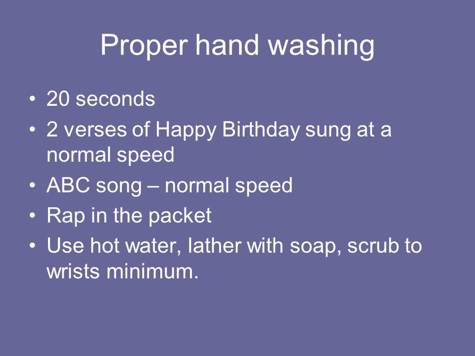Safe food handling Washing hands before eating or preparing food.