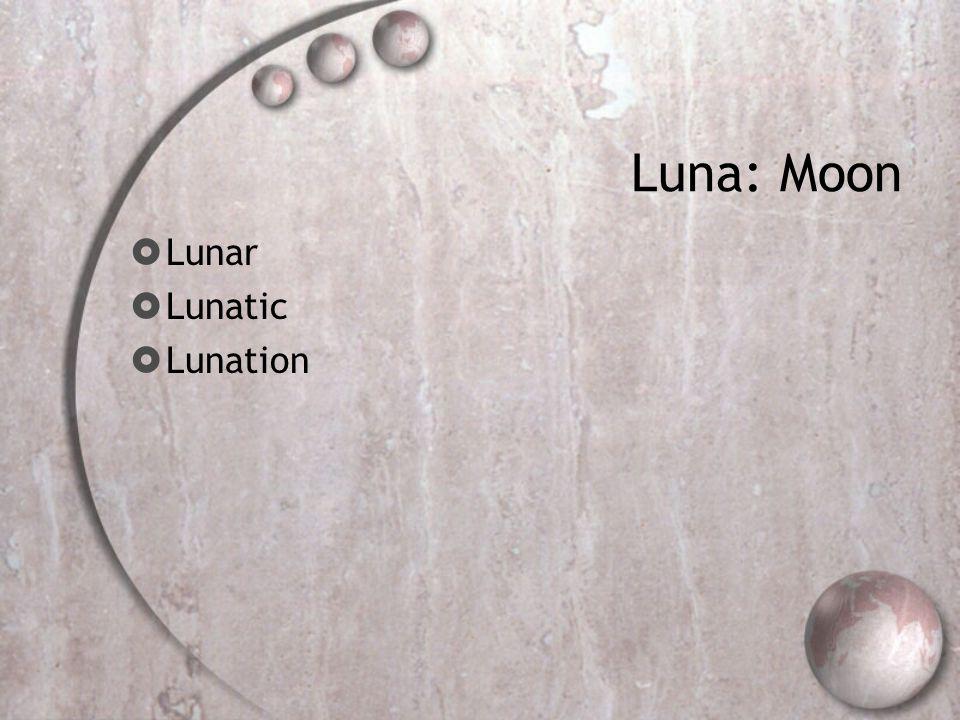 Luna: Moon  Lunar  Lunatic  Lunation