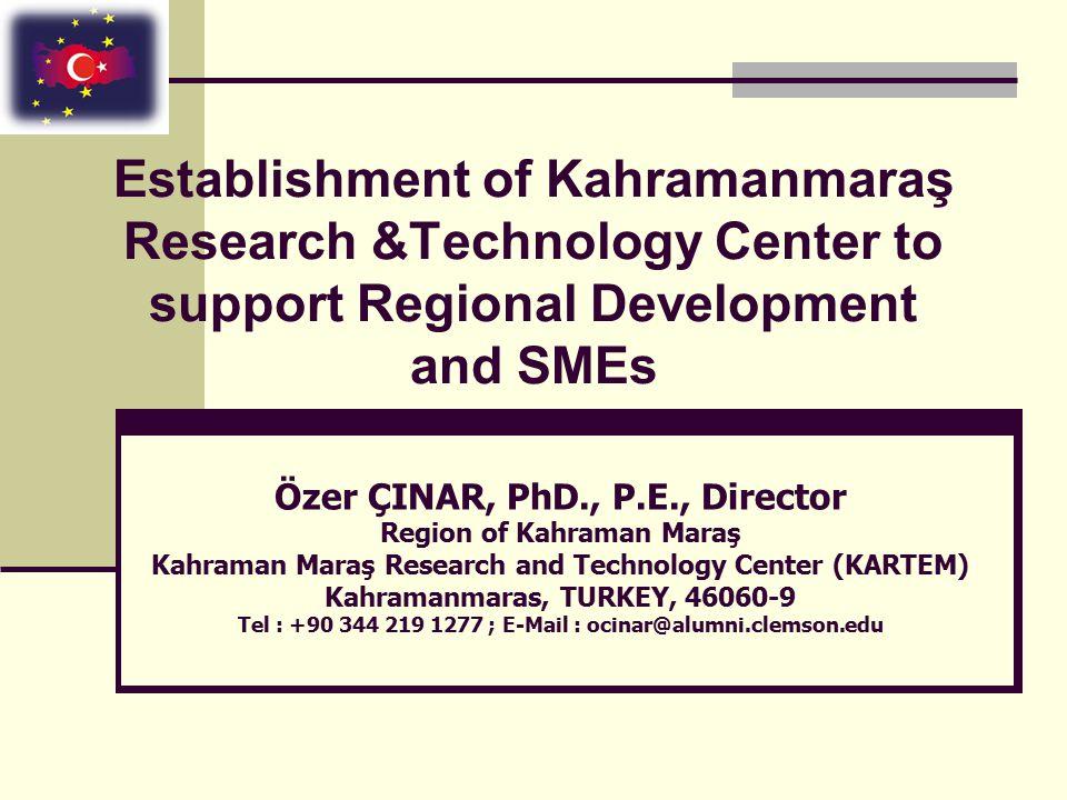 Kahraman Maraş Region  Key Data  Area: 14,346 km 2  Total population: 1,002,384  Population Density: 70  Urban population: 54%  Rural population: 46%  Working population: 471,120  Unemployment rate: 13.0% (2005)