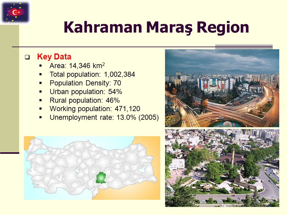 Kahraman Maraş Region  Key Data  Area: 14,346 km 2  Total population: 1,002,384  Population Density: 70  Urban population: 54%  Rural population: 46%  Working population: 471,120  Unemployment rate: 13.0% (2005)
