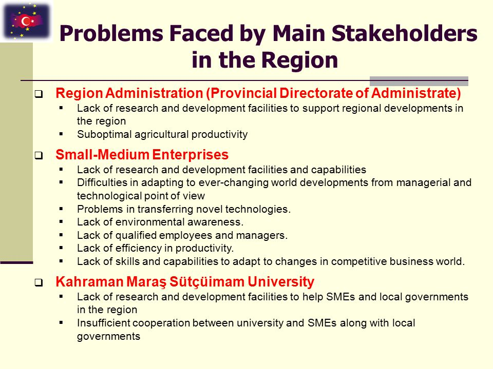 Problems Faced by Main Stakeholders in the Region  Region Administration (Provincial Directorate of Administrate)  Lack of research and development facilities to support regional developments in the region  Suboptimal agricultural productivity  Small-Medium Enterprises  Lack of research and development facilities and capabilities  Difficulties in adapting to ever-changing world developments from managerial and technological point of view  Problems in transferring novel technologies.