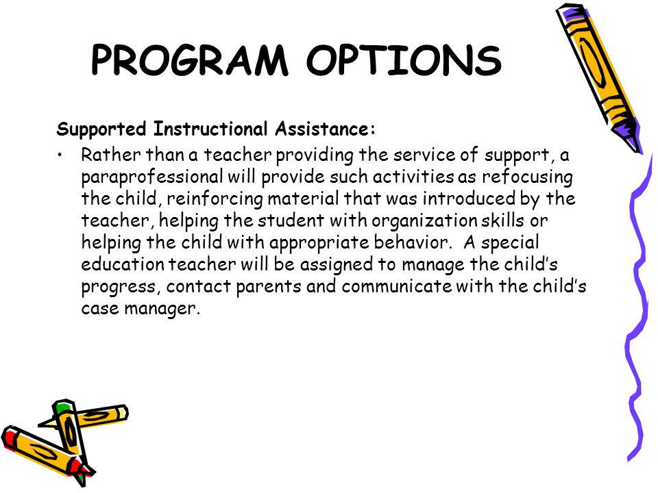 PROGRAM OPTIONS Supported Instructional Assistance: Rather than a teacher providing the service of support, a paraprofessional will provide such activities as refocusing the child, reinforcing material that was introduced by the teacher, helping the student with organization skills or helping the child with appropriate behavior.