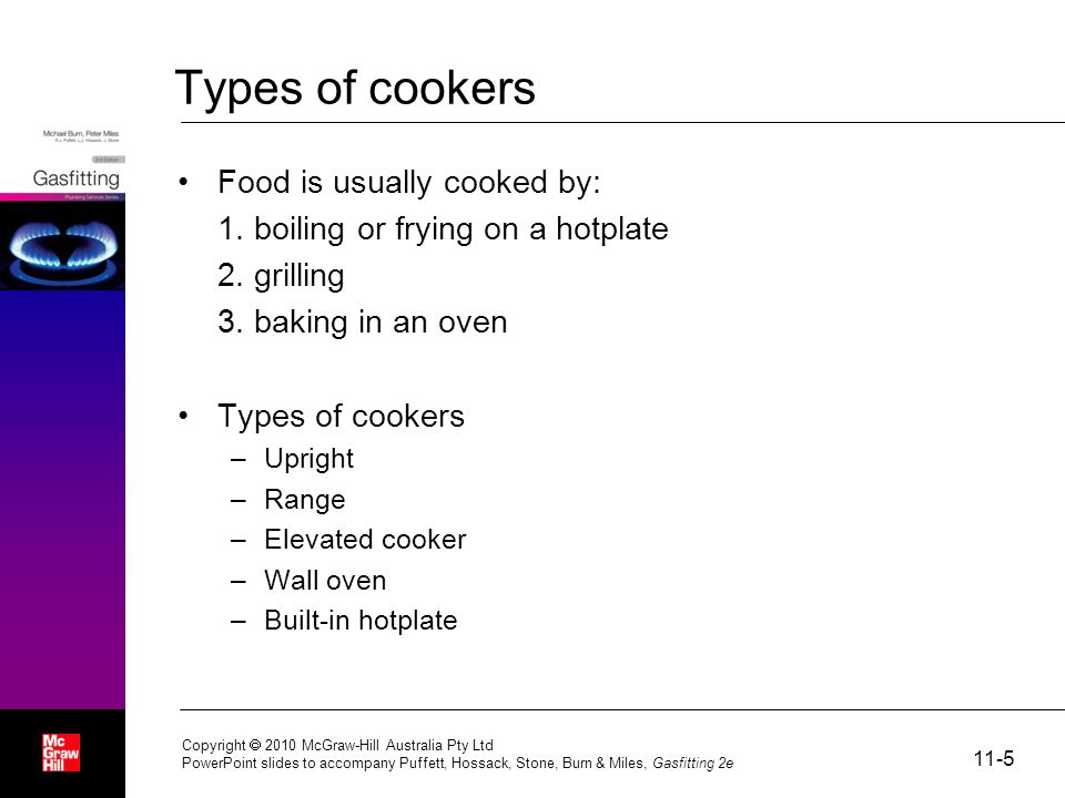 Types of cookers Food is usually cooked by: 1. boiling or frying on a hotplate 2.