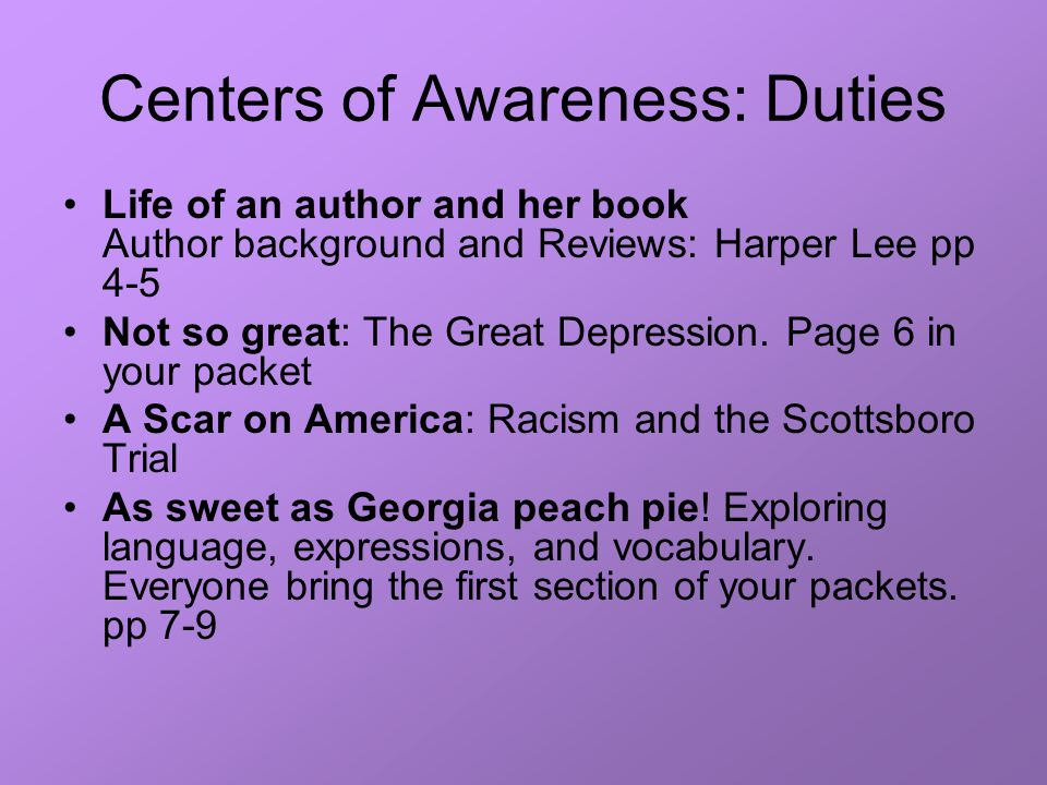 Centers of Awareness: Duties Life of an author and her book Author background and Reviews: Harper Lee pp 4-5 Not so great: The Great Depression.