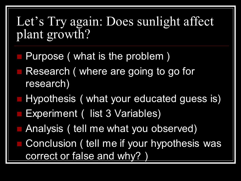 Let's Try again: Does sunlight affect plant growth.