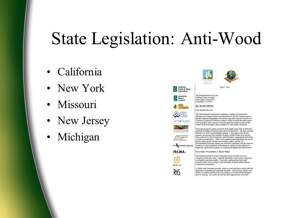 State Legislation: Anti-Wood California New York Missouri New Jersey Michigan