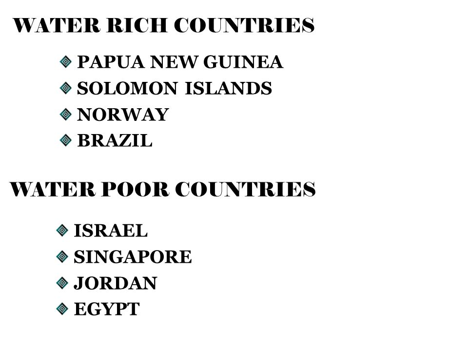WATER RICH COUNTRIES PAPUA NEW GUINEA SOLOMON ISLANDS NORWAY BRAZIL WATER POOR COUNTRIES ISRAEL SINGAPORE JORDAN EGYPT