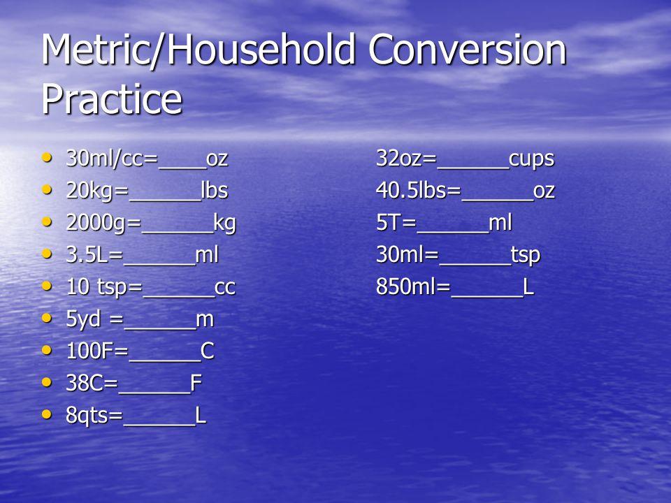 Metric/Household Conversion Practice 30ml/cc=____oz32oz=______cups 30ml/cc=____oz32oz=______cups 20kg=______lbs40.5lbs=______oz 20kg=______lbs40.5lbs=
