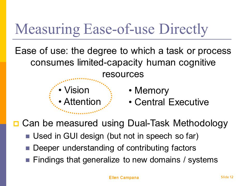February 6 th, 2006 Ellen Campana Slide 12 Measuring Ease-of-use Directly Ease of use: the degree to which a task or process consumes limited-capacity human cognitive resources Vision Attention Memory Central Executive  Can be measured using Dual-Task Methodology Used in GUI design (but not in speech so far) Deeper understanding of contributing factors Findings that generalize to new domains / systems